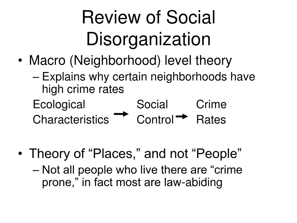 Review of Social Disorganization