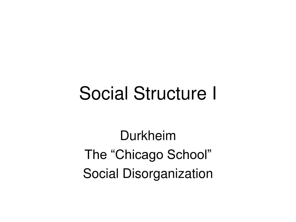 Social Structure I