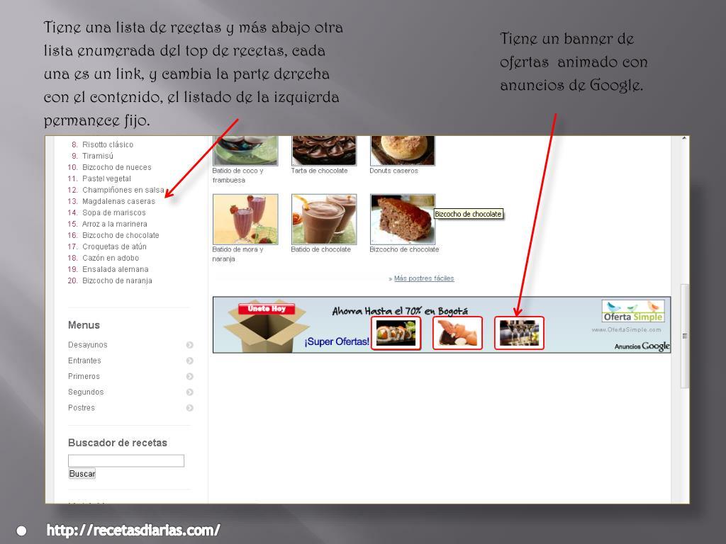 Tiene una lista de recetas y más abajo otra  lista enumerada del top de recetas, cada una es un link, y cambia la parte derecha con el contenido, el listado de la izquierda permanece fijo.