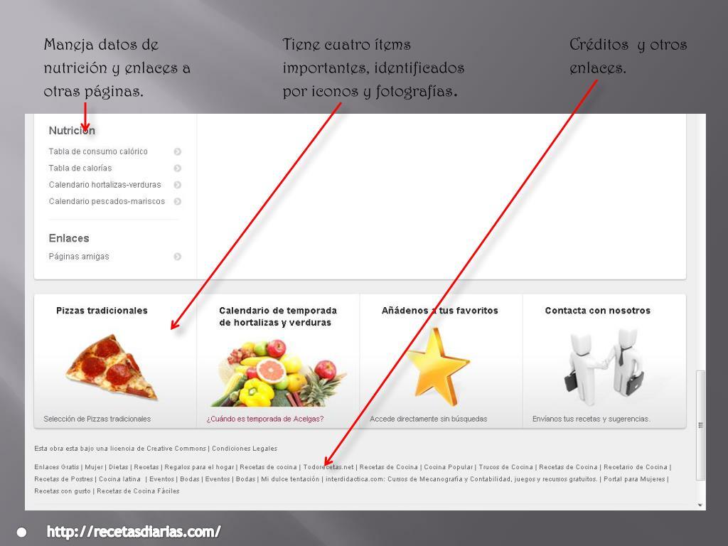 Maneja datos de nutrición y enlaces a otras páginas.