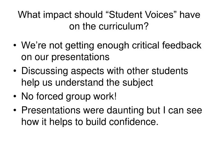 "What impact should ""Student Voices"" have on the curriculum?"