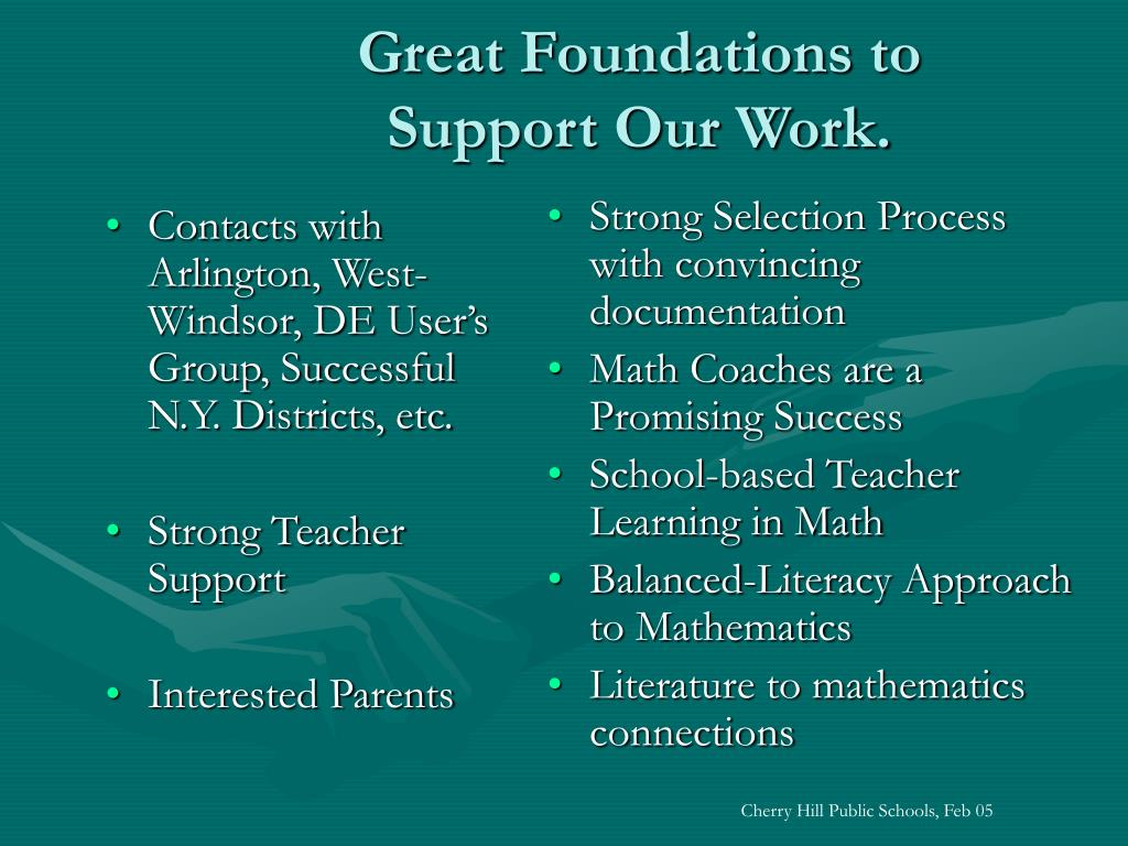 Contacts with Arlington, West-Windsor, DE User's Group, Successful N.Y. Districts, etc.