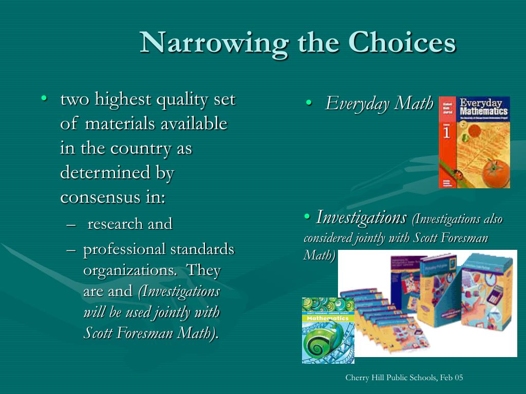 two highest quality set of materials available in the country as determined by consensus in: