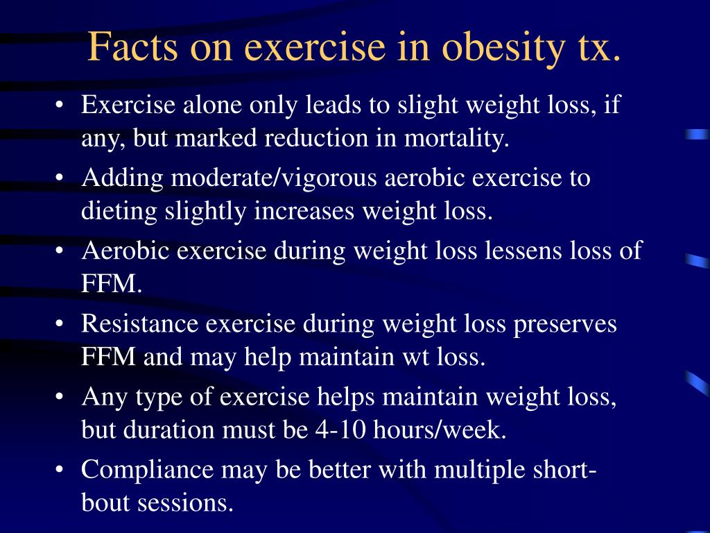 Facts on exercise in obesity tx.