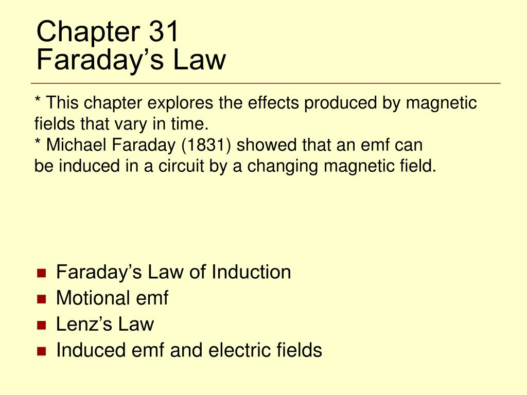 chapter 31 faraday s law