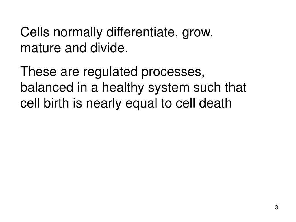 Cells normally differentiate, grow, mature and divide.