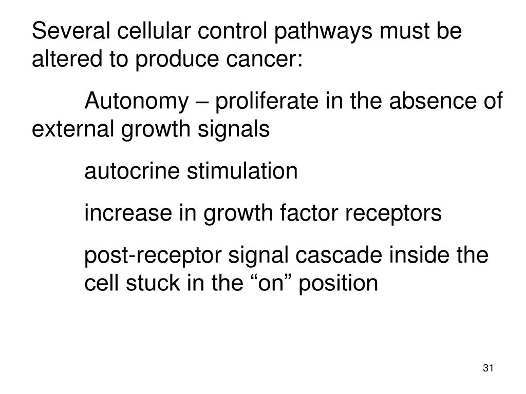 Several cellular control pathways must be altered to produce cancer:
