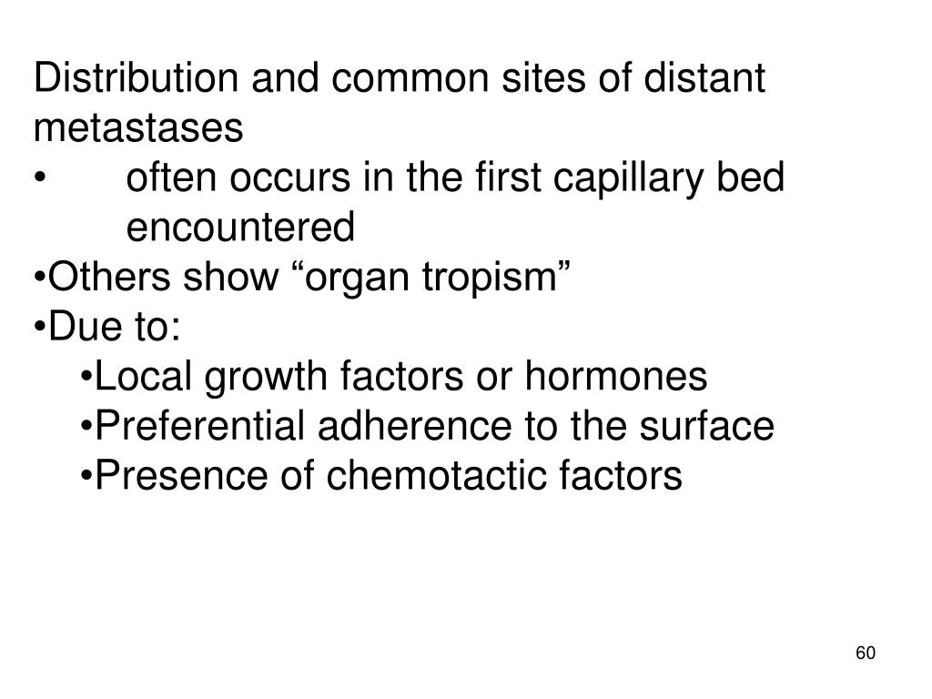 Distribution and common sites of distant metastases
