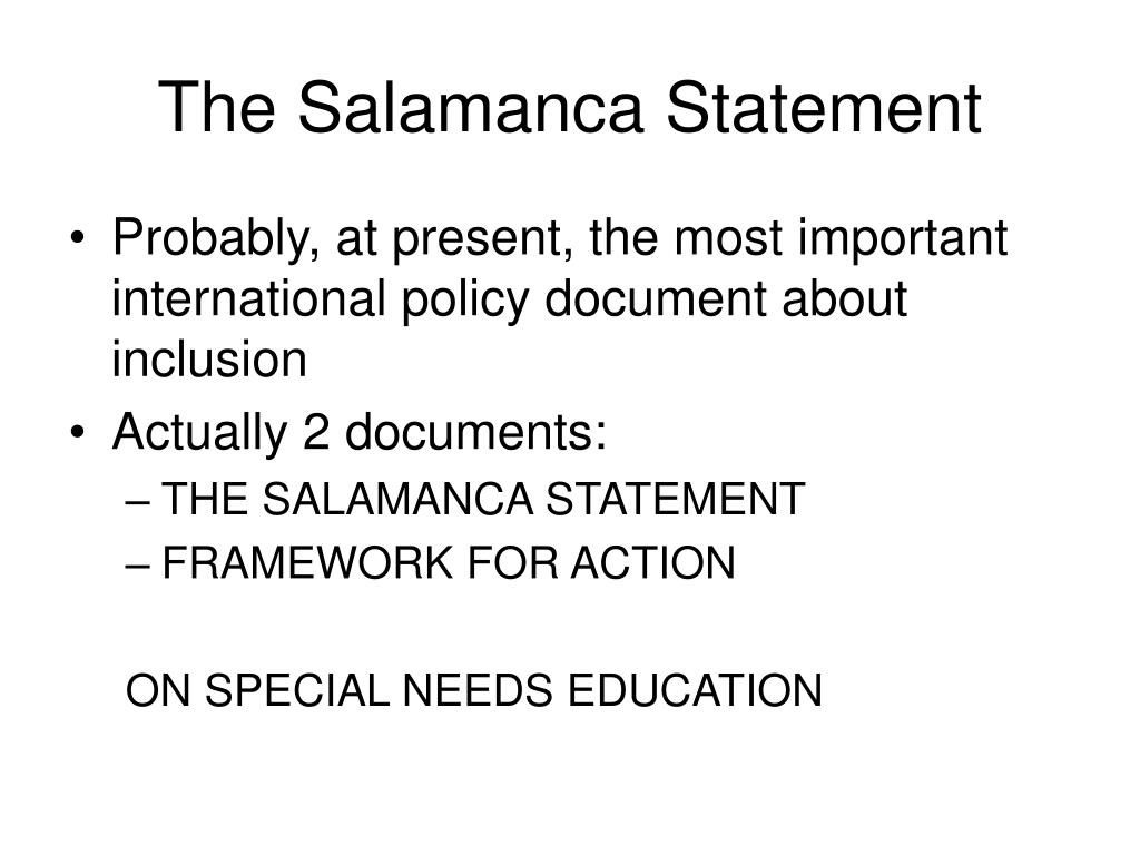 The Salamanca Statement