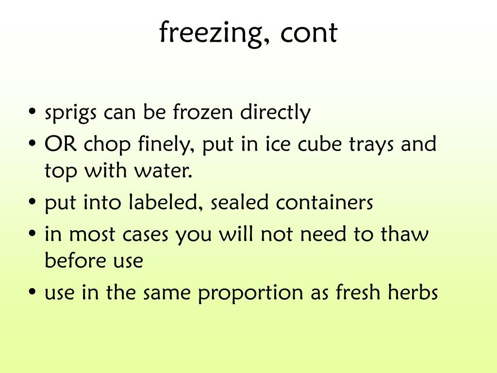 freezing, cont