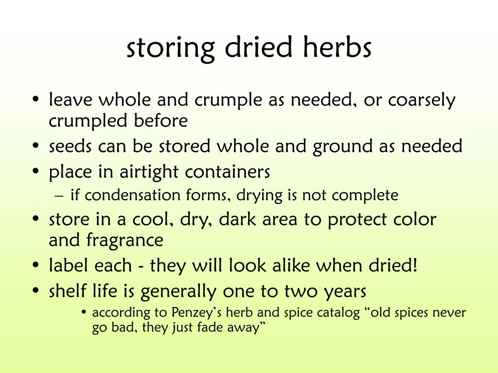 storing dried herbs