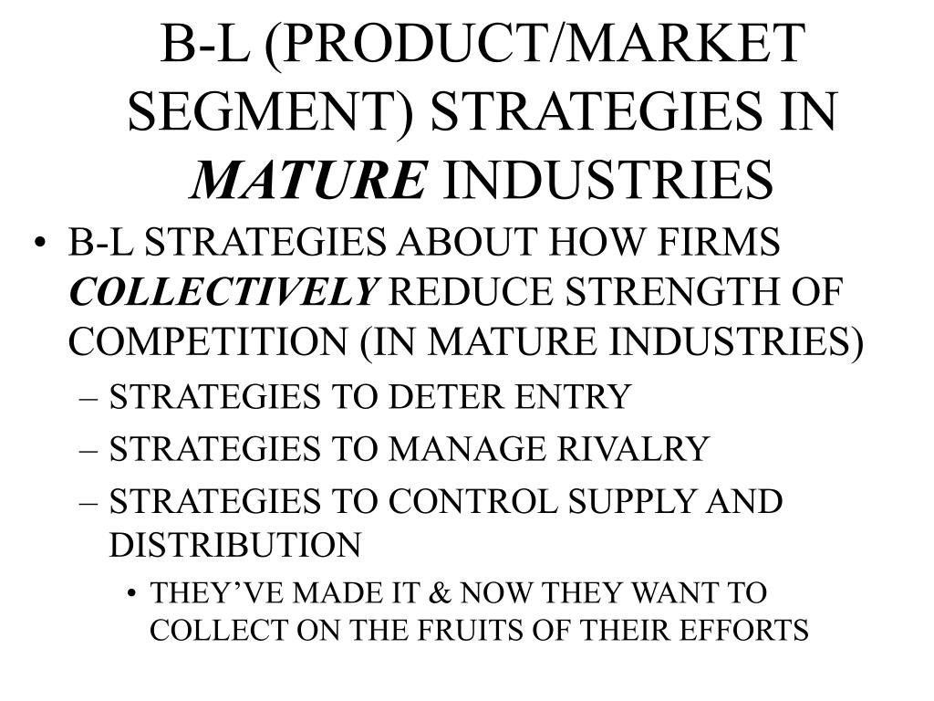 B-L (PRODUCT/MARKET SEGMENT) STRATEGIES IN