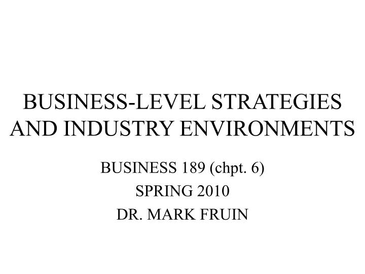Business level strategies and industry environments