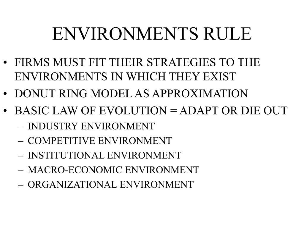 ENVIRONMENTS RULE