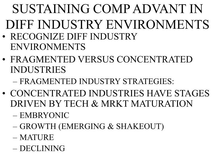 Sustaining comp advant in diff industry environments l.jpg