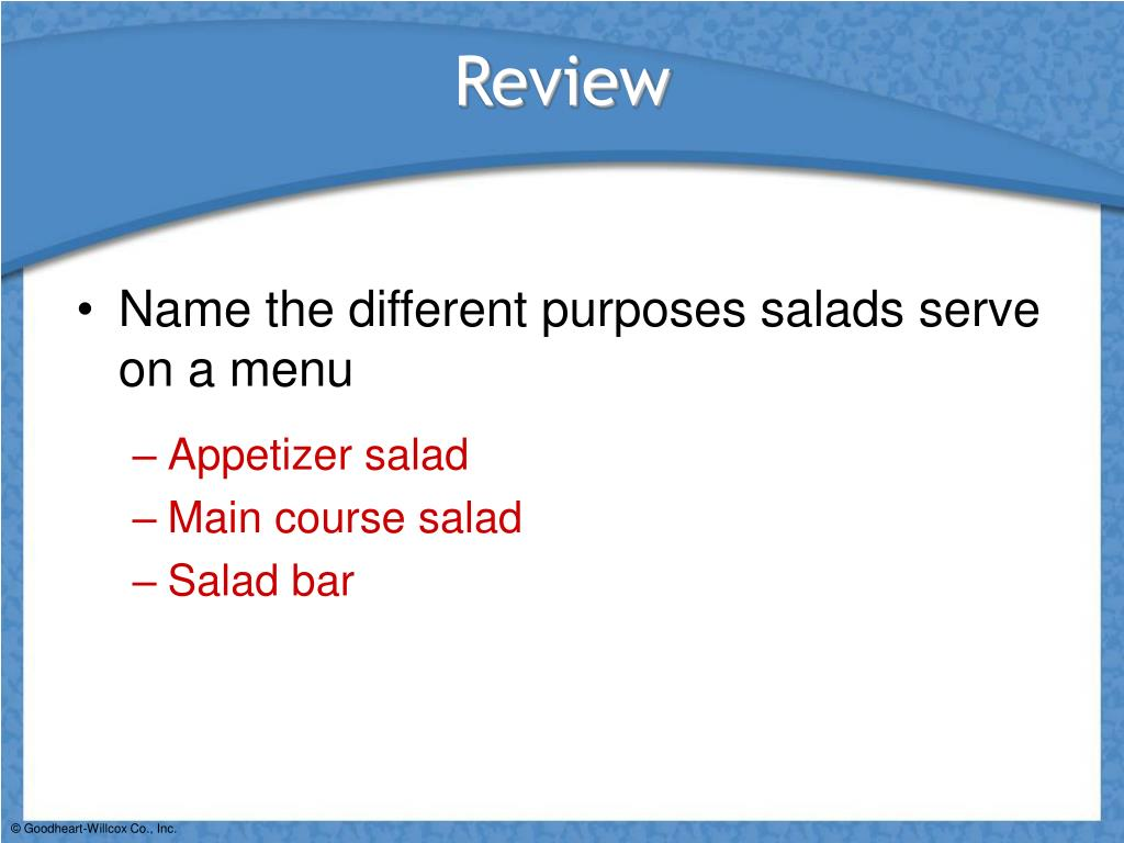 Name the different purposes salads serve on a menu