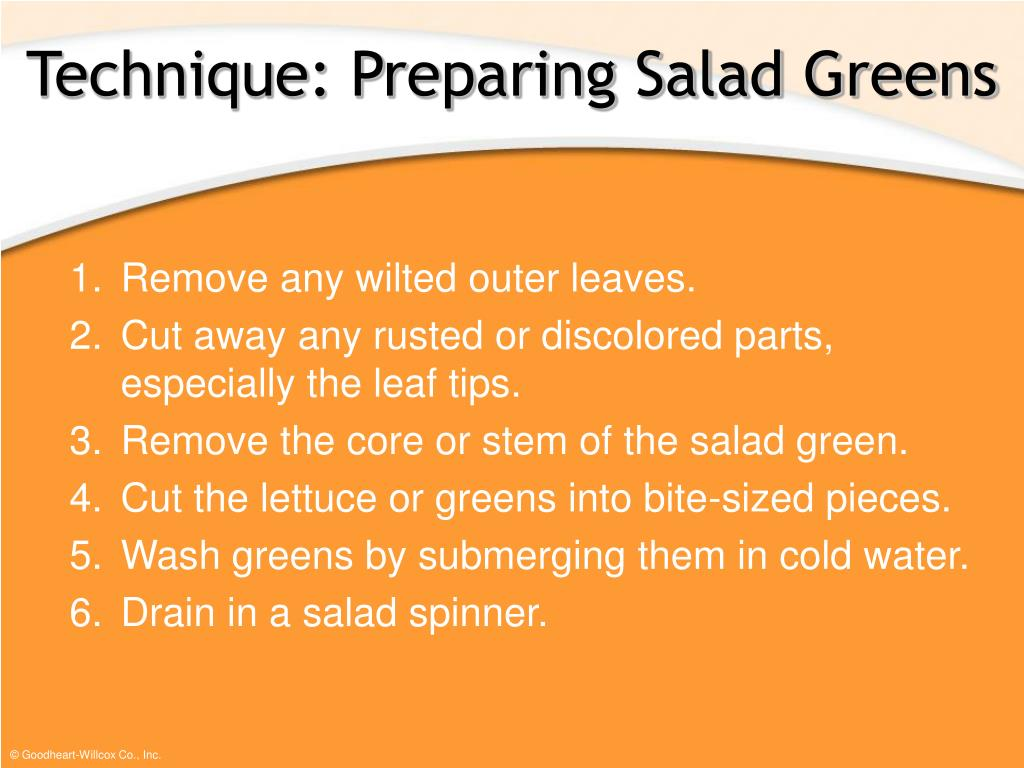 Technique: Preparing Salad Greens