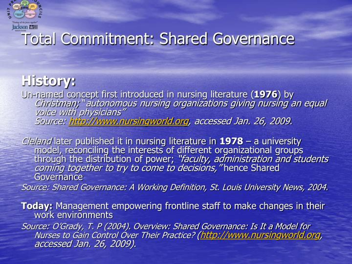 shared governance empowering the staff Shared governance reported research database  short account of initial implementation of a self governance care team model to empower staff and residents in a long .