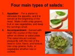 four main types of salads