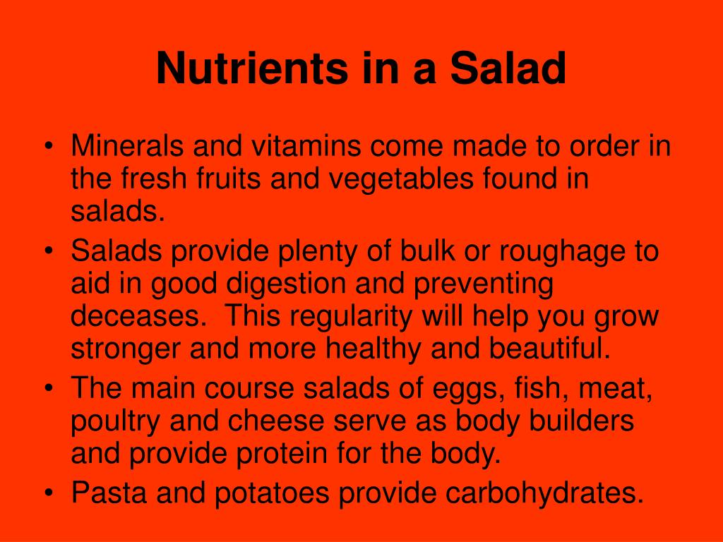Nutrients in a Salad