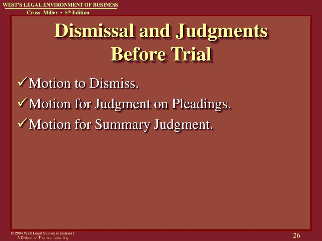 Dismissal and Judgments
