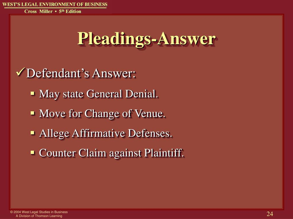 Pleadings-Answer