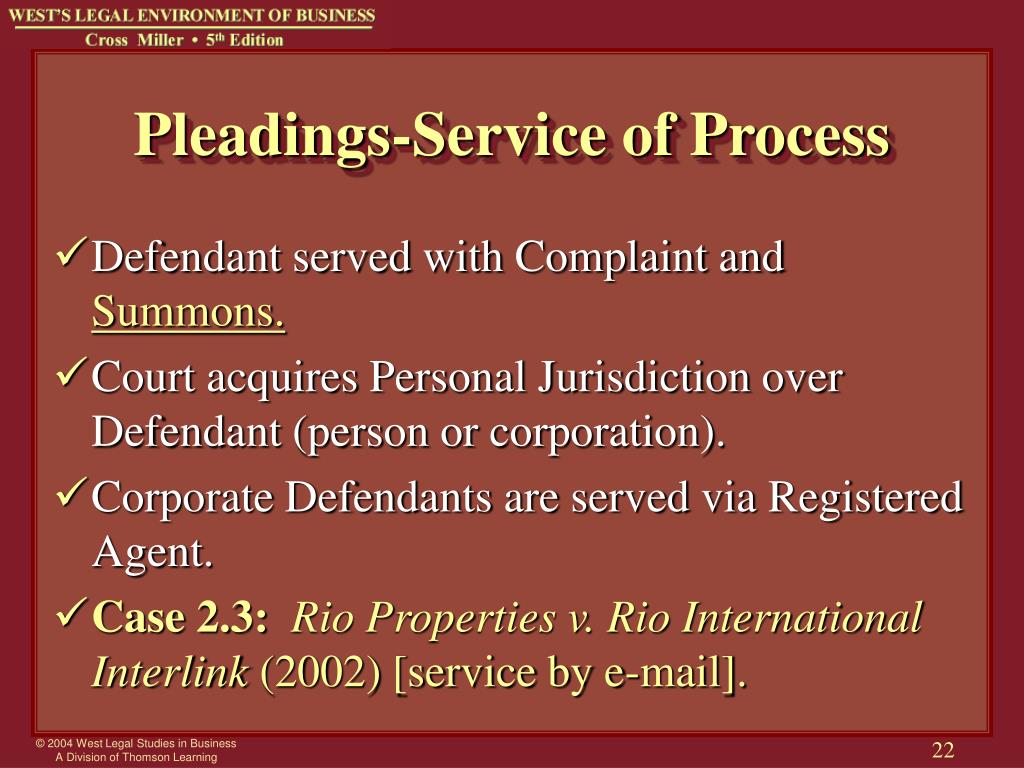 Pleadings-Service of Process