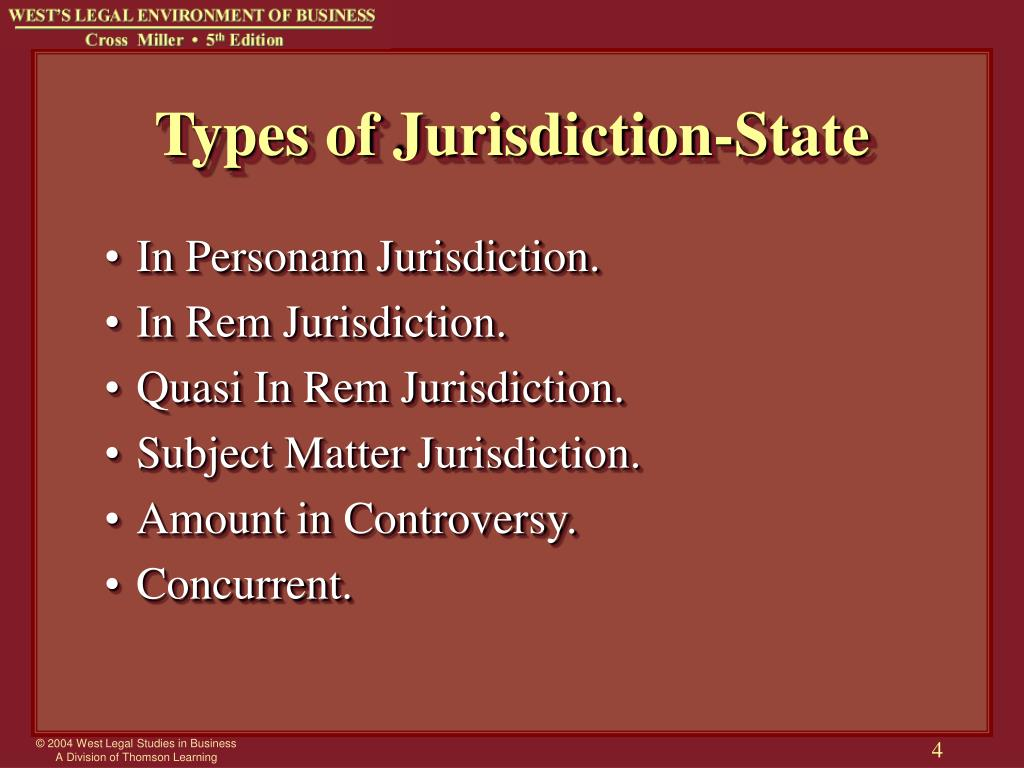 Types of Jurisdiction-State