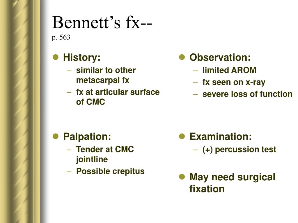 Bennett's fx--