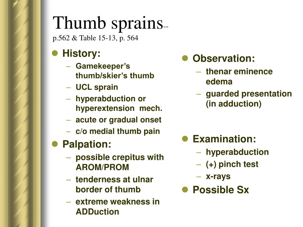 Thumb sprains