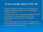a few words about this lab