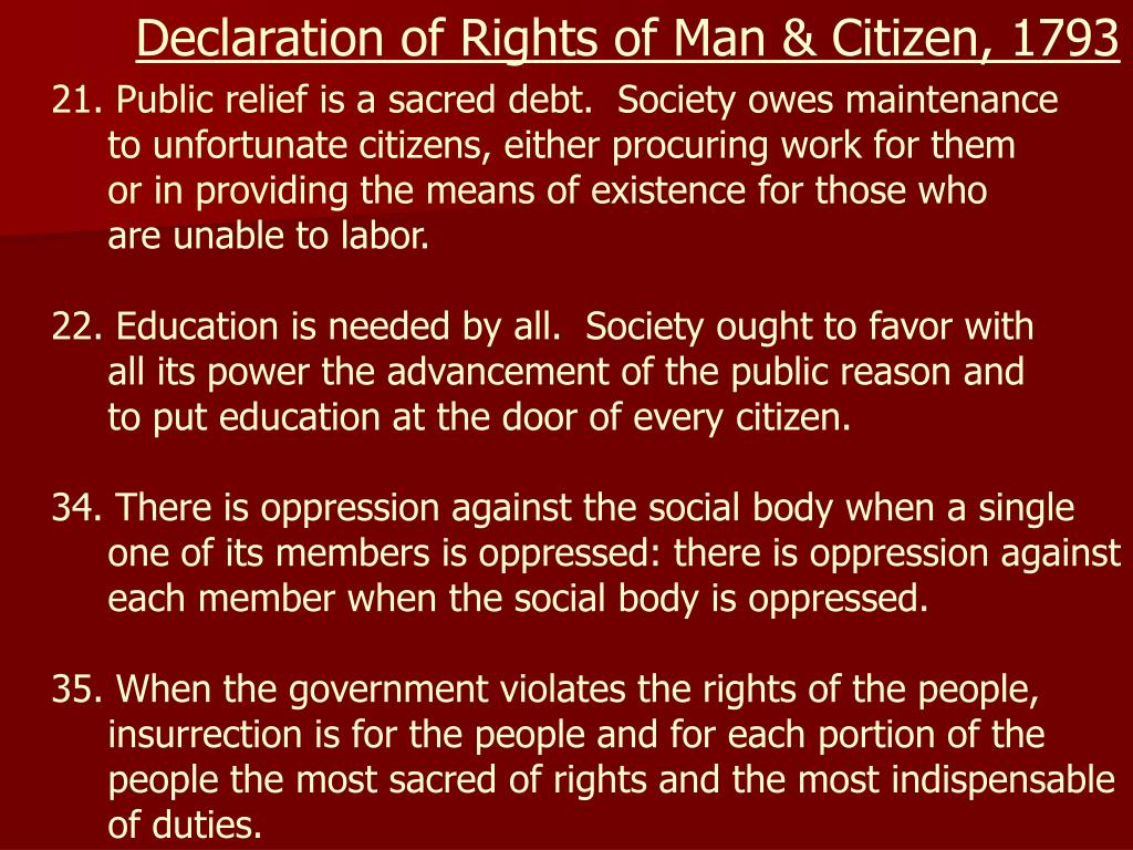 Declaration of Rights of Man & Citizen, 1793