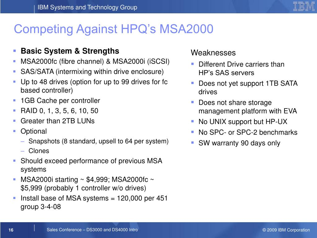 Competing Against HPQ's MSA2000