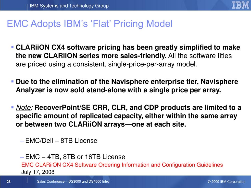 EMC Adopts IBM's 'Flat' Pricing Model