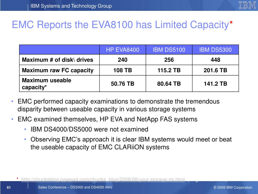 EMC Reports the EVA8100 has Limited Capacity