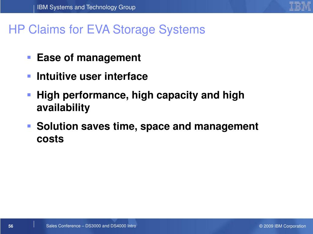 HP Claims for EVA Storage Systems