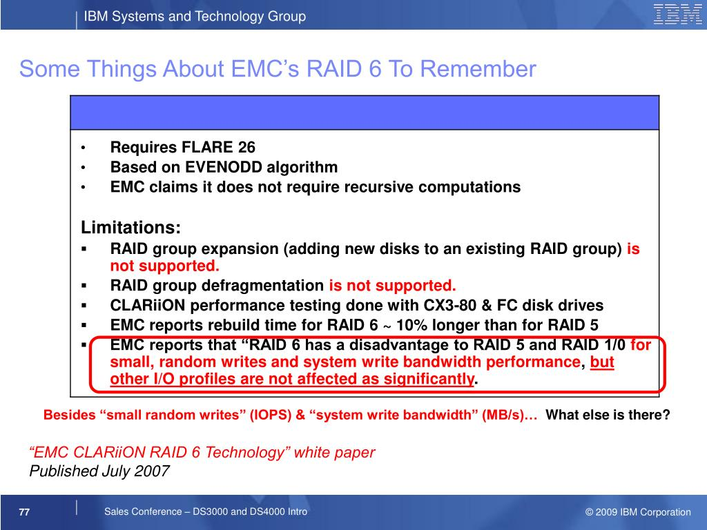 Some Things About EMC's RAID 6 To Remember