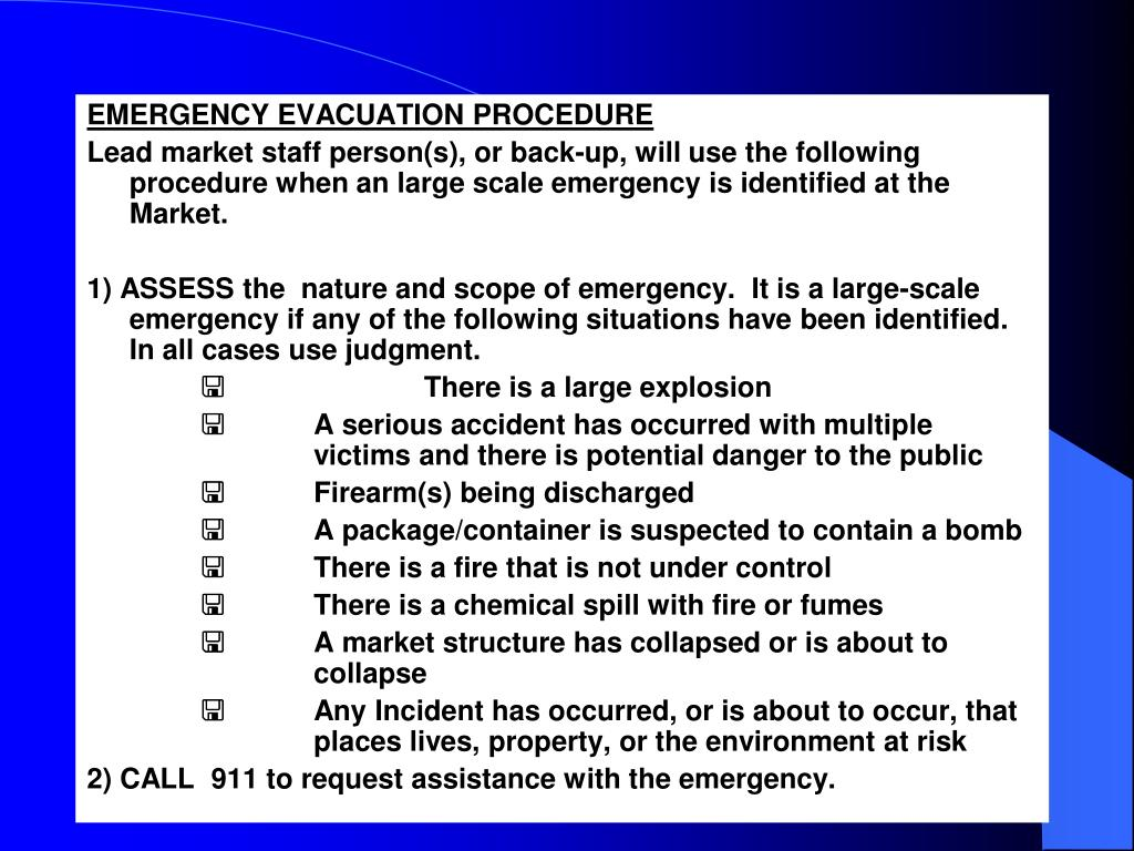 EMERGENCY EVACUATION PROCEDURE