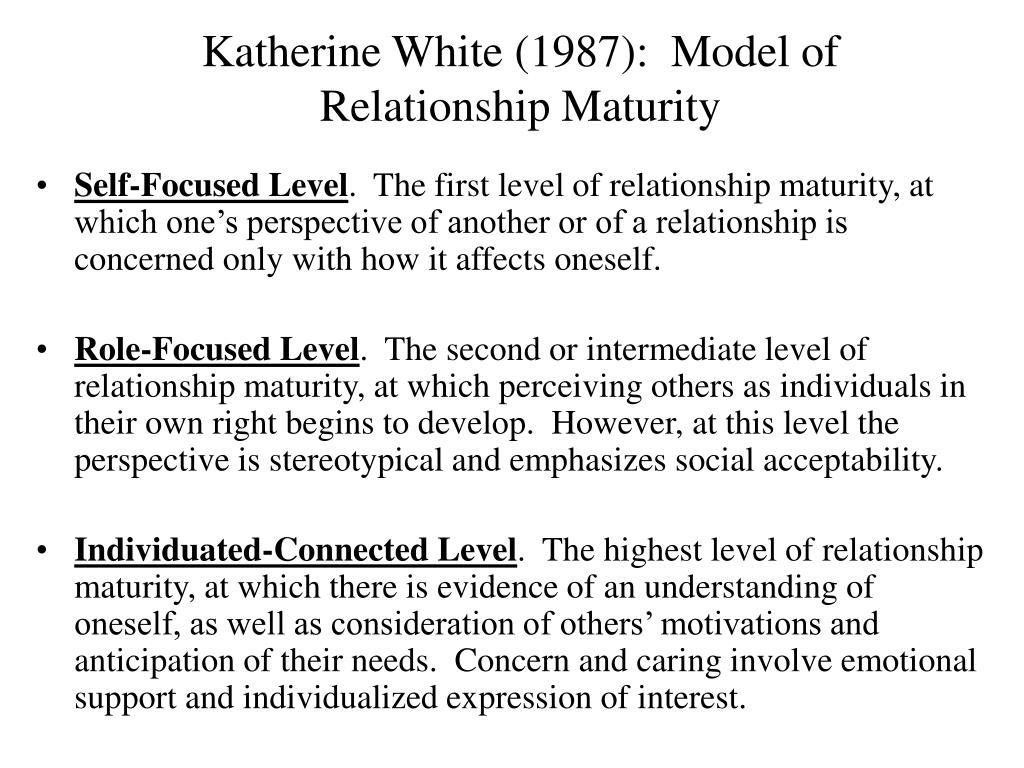 Katherine White (1987):  Model of Relationship Maturity