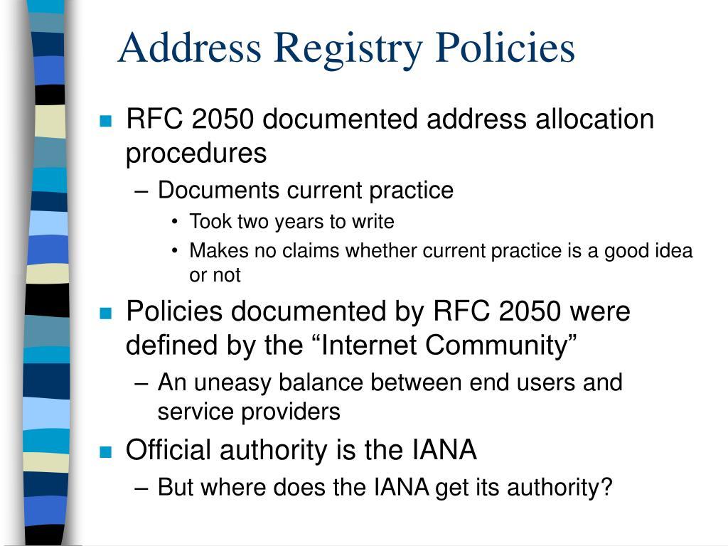 Address Registry Policies