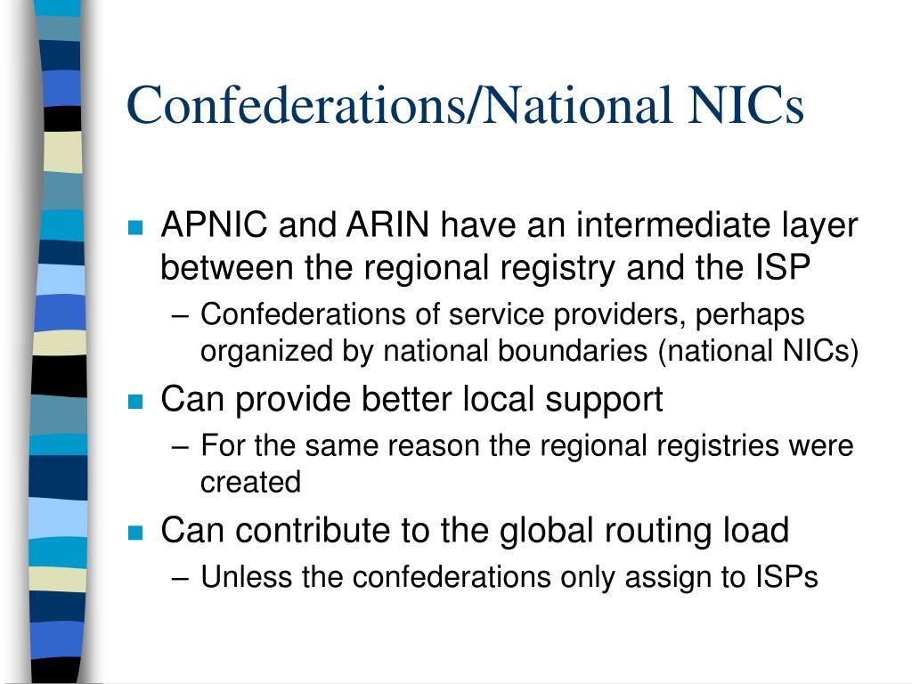 Confederations/National NICs