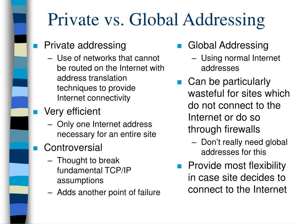 Private addressing