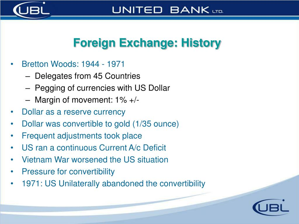 Foreign Exchange: History