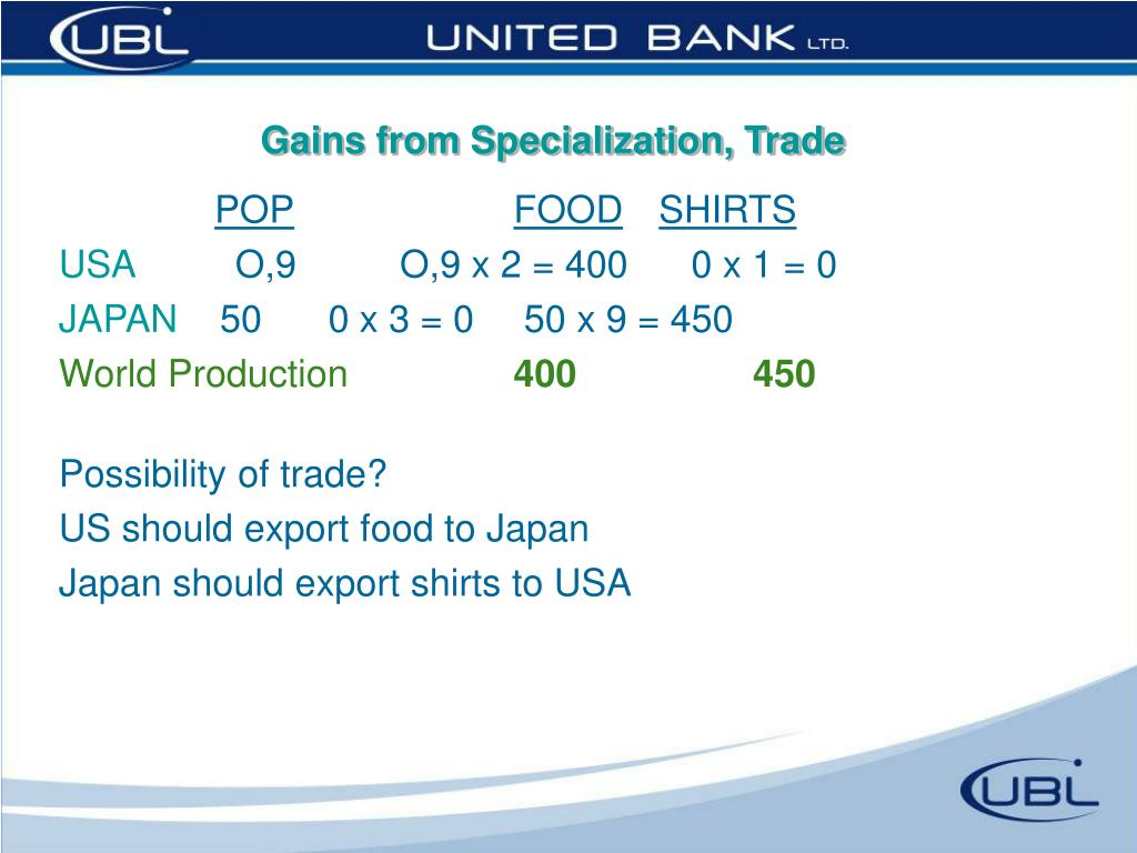 Gains from Specialization, Trade