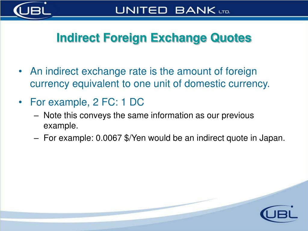 Indirect Foreign Exchange Quotes