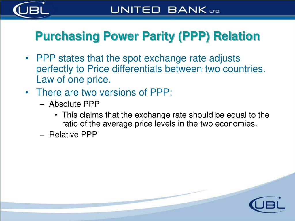 Purchasing Power Parity (PPP) Relation