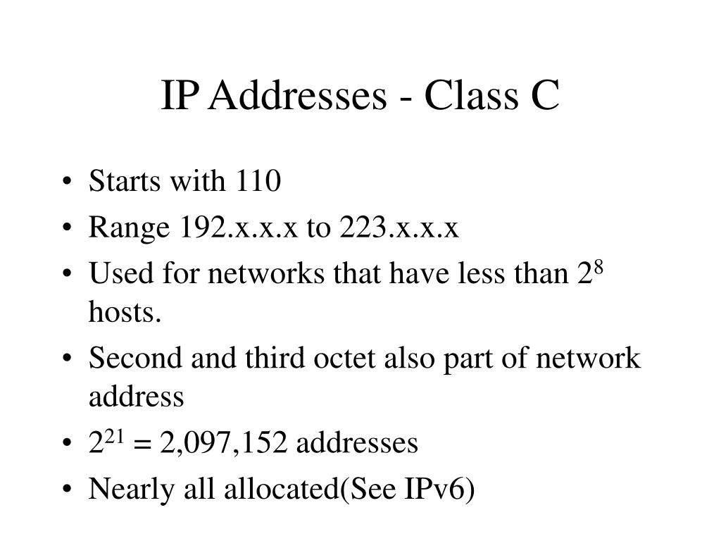 IP Addresses - Class C