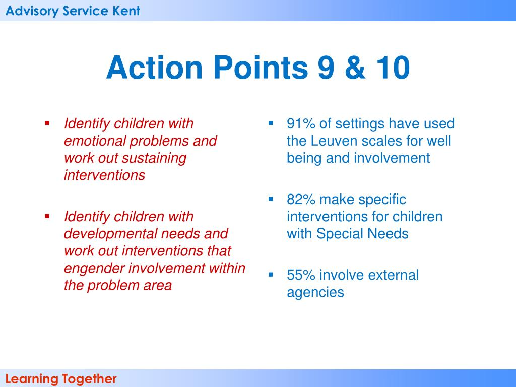 Identify children with emotional problems and work out sustaining interventions