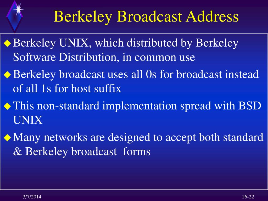 Berkeley Broadcast Address
