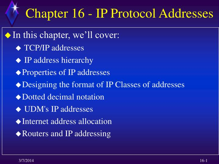 Chapter 16 ip protocol addresses